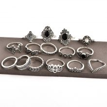 Silver Rings 15 pcs Set Bohemian Style