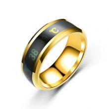 Temperature Measurement Ring Intelligent Stainless Steel Simple Couple Jewelry Birthday Gifts
